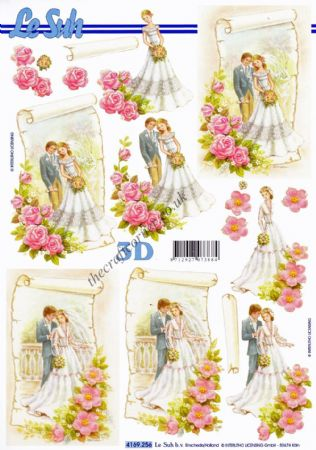 Bride & Groom With Flowers 3d Decoupage Sheet